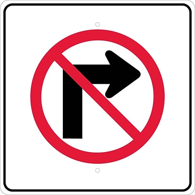Directional Signs; Graphic, No Right Turn Arrow Symbol, 24X24, .080 Egp Ref Aluminum