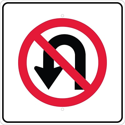 Directional Signs; Graphic, No U Turn Left Arrow Symbol, 24X24, .080 Egp Ref Aluminum