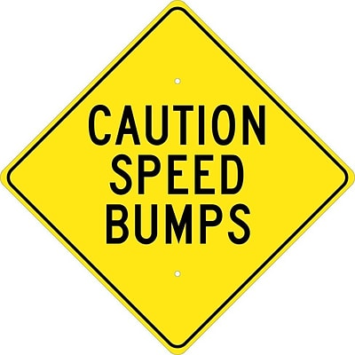 Caution Speed Bumps, 24X24, .080 Hip Ref Aluminum