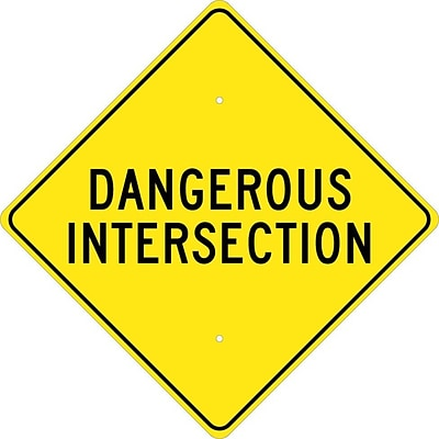 Traffic Warning Signs; Dangerous Intersection, 24X24, .080 Hip Ref Aluminum