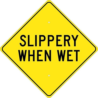 Traffic Warning Signs; Slippery When Wet, 24X24, .080 Hip Ref Aluminum