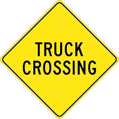 Traffic Warning Signs; Truck Crossing, 24X24, .080 Hip Ref Aluminum