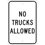 Traffic Warning Signs; No Trucks Allowed, 18X12, .080 Egp Ref Aluminum