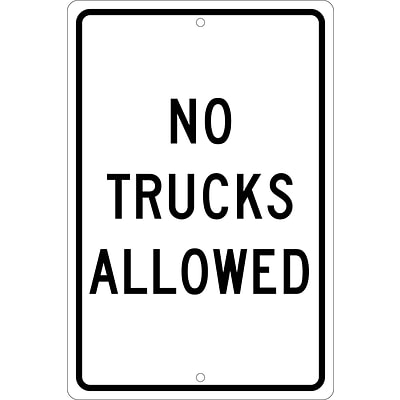 Traffic Warning Signs; No Trucks Allowed, 18X12, .080 Hip Ref Aluminum