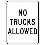 Traffic Warning Signs; No Trucks Allowed, 24X18, .080 Egp Ref Aluminum