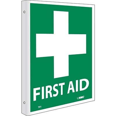 Notice Signs; First Aid, Flanged, 10X8, Rigid Plastic