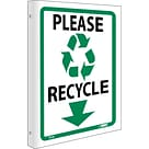 Please Recycle, Flanged, 10X8, Rigid Plastic, Notice Sign