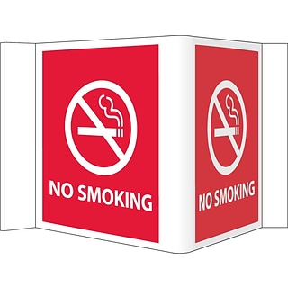 Notice Sign;  Visi  No Smoking, Red, 5 3/4X8 3/4, .125 PVC Plastic