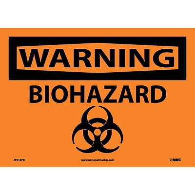 Warning Labels; Biohazard, Graphic, 10X14, Adhesive Vinyl
