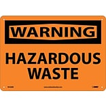 Warning Sign; Hazardous Waste, 10X14, Rigid Plastic