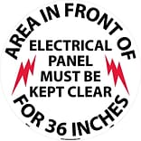 Floor Signs; Walk On, Area In Front Of Electrical Panel Must Be Kept Clear For 36 Inches, 17 Dia