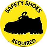 Floor Signs; Walk On, Safety Shoes Required, 17 Dia, Ps Vinyl
