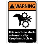 Warning Sign; This Machine Starts Automatically Keep Hands Clear (W/Graphic), 14X10, Rigid Plastic