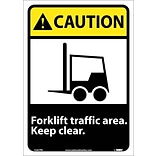Caution Labels; Forklift Traffic Area Keep Clear (W/Graphic), 14X10, Adhesive Vinyl