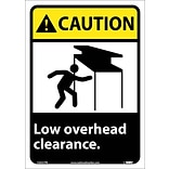 Caution Labels; Low Overhead Clearance, 14X10, Adhesive Vinyl