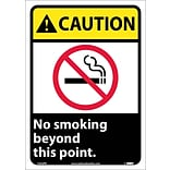 Caution Labels; No Smoking Beyond This Point (W/Graphic), 14X10, Adhesive Vinyl