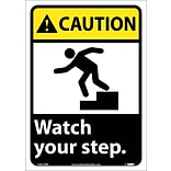 Caution Labels; Watch Your Step (W/Graphic), 14X10, Adhesive Vinyl