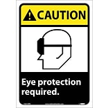 Caution Labels; Eye Protection Required (W/Graphic), 14X10, Adhesive Vinyl