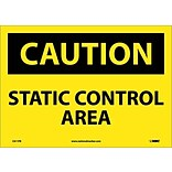 Caution Labels; Static Control Area, 10X14, Adhesive Vinyl