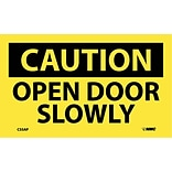 Caution Labels; Open Door Slowly, 3X5, Adhesive Vinyl, 5/Pk