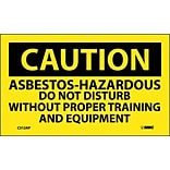 Caution Labels; Asbestos-Hazardous .., 3X5, Adhesive Vinyl, 5/Pk