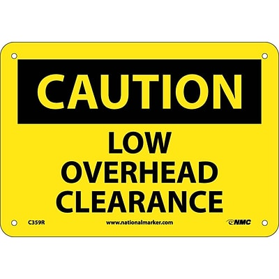 Caution Signs; Low Overhead Clearance, 7X10, Rigid Plastic