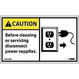 Caution Labels; Before Cleaning Or Servicing Disconnect Power...(Graphic), 3X5, Adhesive Vinyl, 5/Pk