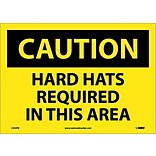Caution Labels; Hard Hats Required In This Area, 10X14, Adhesive Vinyl