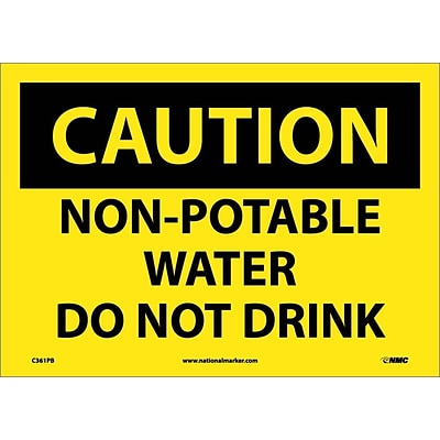 Caution Labels; Non-Potable Water Do Not Drink, 10X14, Adhesive Vinyl