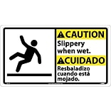 Caution Signs; Slippery When Wet (Bilingual W/Graphic), 10X18, Rigid Plastic