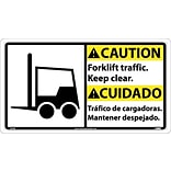 Caution Signs; Forklift Traffic Keep.. (Bilingual W/Graphic), 10X18, Rigid Plastic