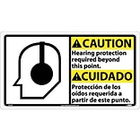 Caution Signs; Hearing Protection (Bilingual W/Graphic), 10X18, Rigid Plastic