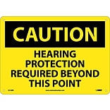 Caution Signs; Hearing Protection Required Beyond This Point, 10X14, Rigid Plastic