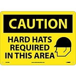 Caution Signs; Hard Hats Required In This Area, Graphic, 10X14, Rigid Plastic
