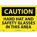 Caution Signs; Hard Hat And Safety Glasses In This Area, 10X14, Rigid Plastic