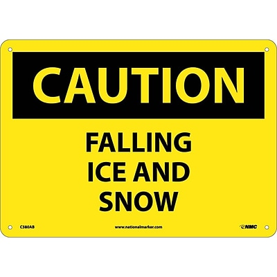 Caution Signs; Falling Ice And Snow, 10X14, .040 Aluminum