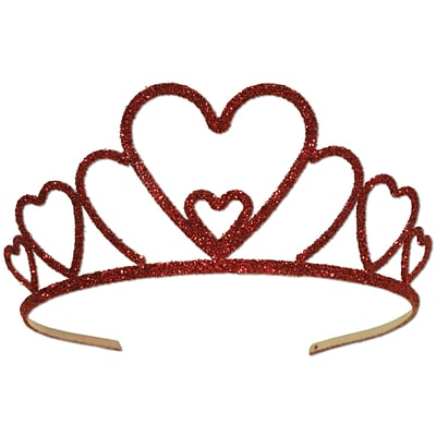 Beistle Glittered Heart Tiara; Red