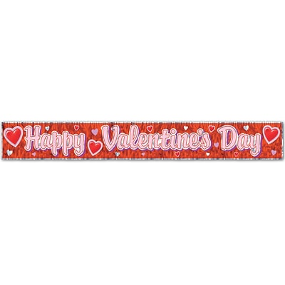 Beistle 8 x 5 Happy Valentines Day Fringe Banner; Red, 4/Pack