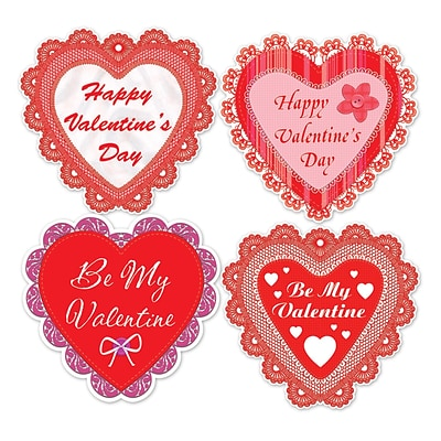 Beistle 14 Happy Valentines Day Lace Heart Cutouts; 12/Pack
