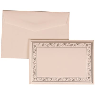 JAM Paper® Wedding Invitation Set, Small, 3 3/8 x 4 3/4, White Foldover Cards, Silver Border, White Envelopes,100/pk (306024765)