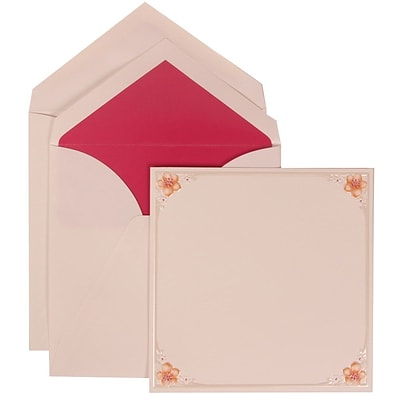 JAM Paper® Wedding Invitation Set, Large, 6.25 x 6.25, White Cards with 4 Pink Flowers, Pink Lined Envelopes, 50/pk (307624890)
