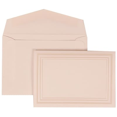 JAM Paper® Wedding Invitation Set, Small, 3 3/8 x 4 3/4, White Cards, Ivory Triple Border, White Envelopes, 100/pack (309225021)