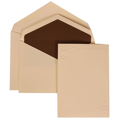 JAM Paper® Wedding Invitation Set, Medium, 5 1/8 x 7 1/4, Ivory Cards, Ivory Lilies, Brown Lined Envelopes, 50/pack (312625283)