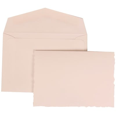 JAM Paper® Wedding Invitation Set, Small, 3 3/8 x 4 3/4, White Cards with Uneven Edge, White Envelopes, 100/pack (303324737)