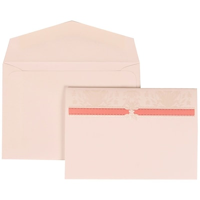 JAM Paper® Wedding Invitation Set, Small, 3 3/8 x 4 3/4, Pink with White Envelopes and Pink and Ivory Band, 100/pack (306624798)