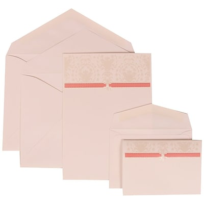 JAM Paper® Wedding Invitation Combo Sets, 1 Sm 1 Lg, White Cards, Pink Band, Design, White Envelopes, 150/pack (306624802)