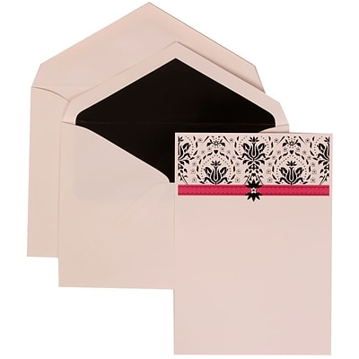 JAM Paper® Wedding Invitation Set, Large, 5.5 x 7.75, White Cards with Pink Band, Black Lined Envelopes, 50/pack (306724812)