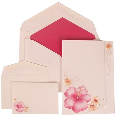 JAM Paper® Wedding Invitation Combo Sets, 1 Sm 1 Lg, White Cards with Pink Flower, Pale Pink Lined Envelopes 150/pk (307524883)