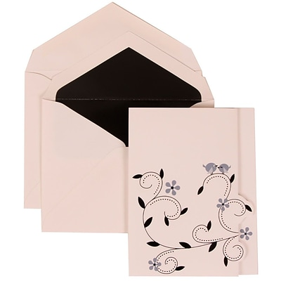 JAM Paper® Wedding Invitation Set, Large, 4 3/4 x 6 1/8, Grey Card with Black Lined Envelopes, 50/pack (308124933)