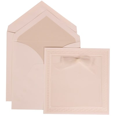 JAM Paper® Wedding Invitation Set, Large, 7 x 7, White with Crystal Lined Envelopes and White Border Bow, 50/pack (303125301)